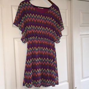 Francesca's Multicolored short sleeved dress